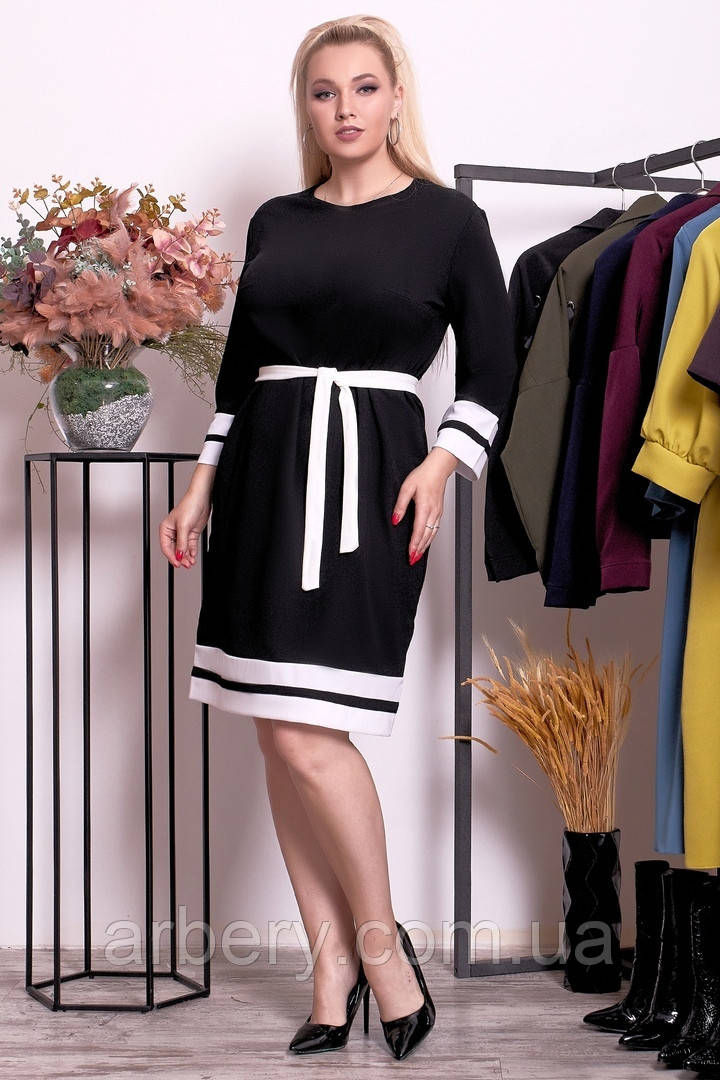 Женское батальное свободное платье с поясом