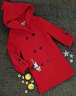 Пальто на дівчинку, р. 140, 150, 160, червоний, фото 1