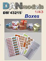 """Коробки от """"Нова Пошта"""", """"Ин-Тайм"""", Рошен. Ящики от банан. (картон). 1/43 DANMODELS DM43215"""