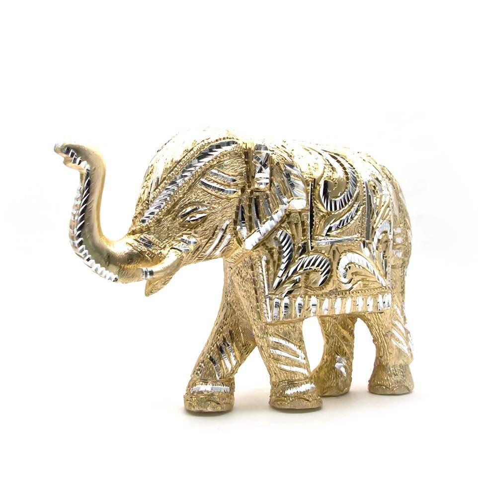 Слон резной алюминий (24х16,5х7 см)(elephant cut big)
