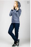 "Молодежный, теплый, женский спортивный костюм ""Rain"" , трикотаж с начесом,  р. М,Л,ХЛ,ХХЛ синий"