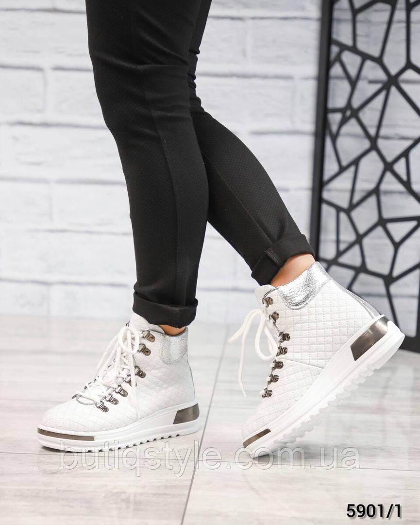 Женские белые ботинки на шнуровке натуральная кожа Зима