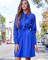 Женское однотонное платье с бантом на шее (Лалли jd)