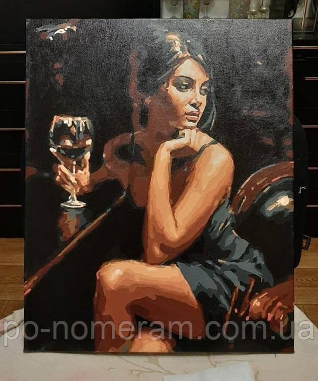 Картина по номерам Девушка с бокалом вина отзывы и фото