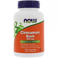 "Кора корицы NOW Foods ""Cinnamon Bark"" 600 мг, здоровый метаболизм глюкозы (120 капсул)"