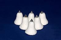 Набор пенопластовых колокольчиков мохнатых с цветными блестками, 6 шт.*6 см (200237)