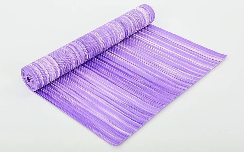 Коврик для фитнеса и йоги SP-Planeta FI-6983 (1,73мx0,61мx4мм, с принтом Полоса, фиолетовый)