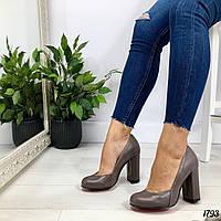Туфли на каблуке цвета капучино натуральная кожа, фото 1