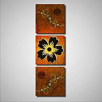 Составная модульная картина на стену Черные цветы с золотом, 40х126 см