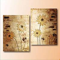 Стильная модульная картина на холсте для интерьера дома Цветы и клевер, 82х65 см