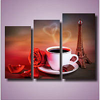 Модульная картина для кухни Утро в Париже, 50х69 см