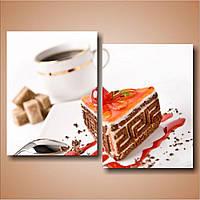 Модульная картина для кухни Торт и кофе, 53х72 см