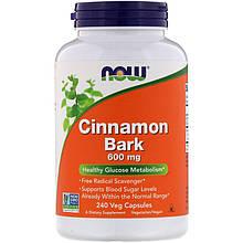 "Кора корицы NOW Foods ""Cinnamon Bark"" 600 мг, здоровый метаболизм глюкозы (240 капсул)"