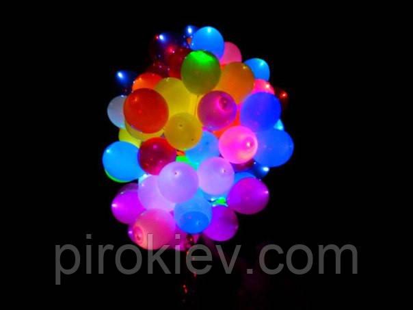 """Разноцветные шары со светодиодами 12"""" с гелием, встроенный светодиод с кнопкой, три режима работы"""
