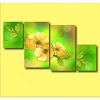 Модульная картина для кухни на стену Три желтых цветка, 142х75 см