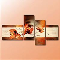 Стильная модульная картина на холсте для интерьера дома 4 в 1 Три орхидеи на веточке, 189х100 см
