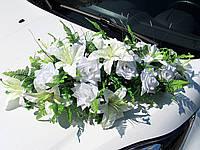 Икебана-панно Белая (лилии + розы) на Присосках (113)