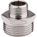 Никелированный переходник ниппель  ред 3/4*1/2 дюйм  MIRAYA