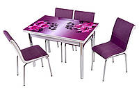 """Комплект кухонный стол и стулья """"Фиолетовая лилия"""" МДФ каленое стекло 70*110 (Лотос-М)"""