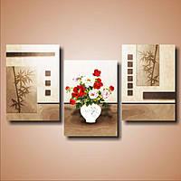 Оригинальная модульная картина, холст в спальню  Розы в вазе и бамбук, 111х60 см