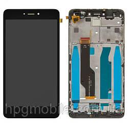 Дисплейный модуль (дисплей + сенсор) для Xiaomi Redmi Note 4X, с рамкой, черный, Snapdragon, оригинал