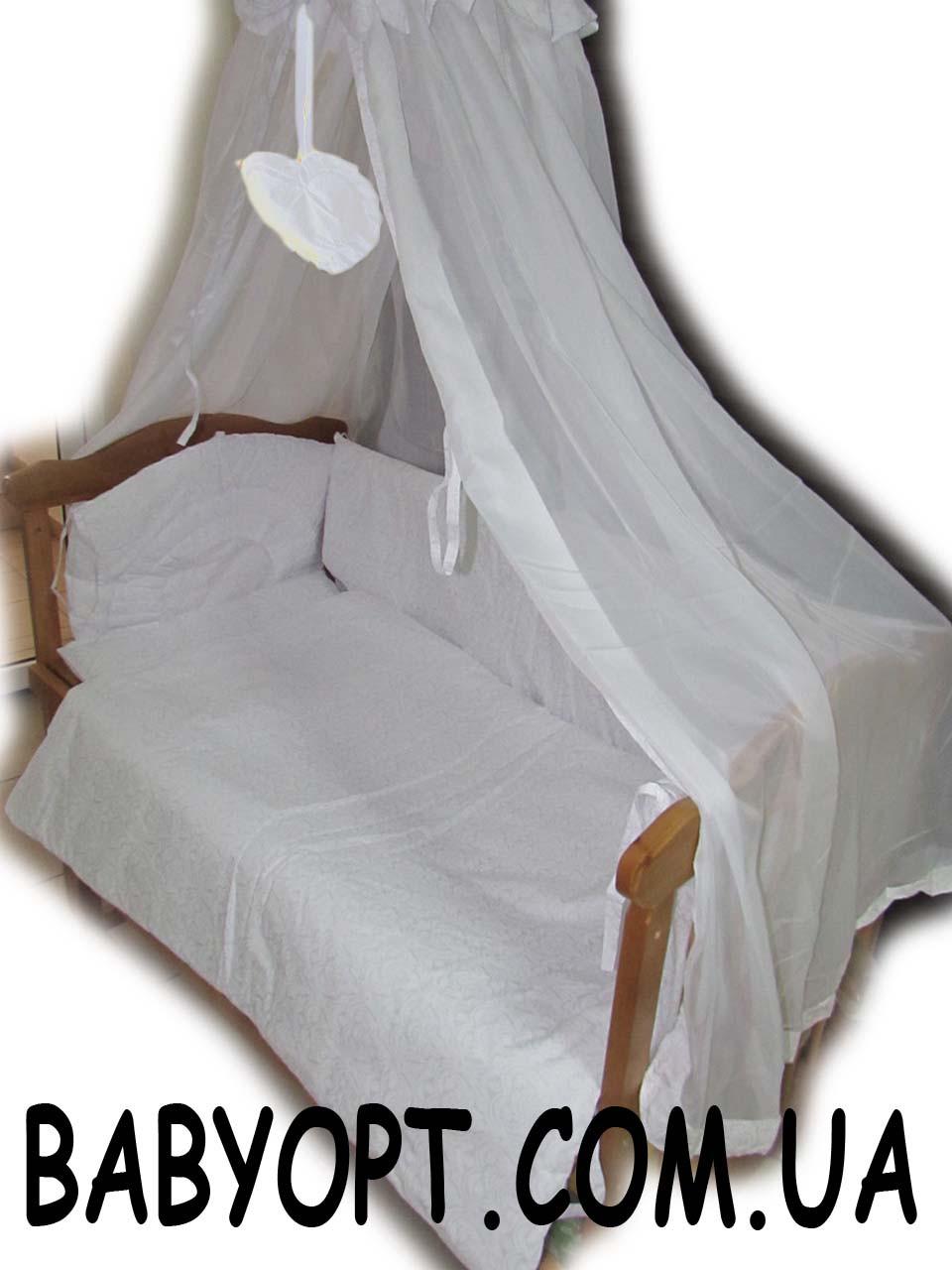 Набор постельного в детскую кроватку Baby белый  8 эл подвеска сердечко