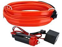 Гибкий холодный неон, неоновая подсветка салона авто 5м, красный плоский