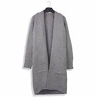Женский модный серый кардиган с карманами