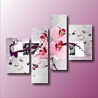 Красивая комнатная модульная картина для декора Орхидея и цветные камни, 103х129 см