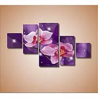 Красивая комнатная модульная картина для декора Орхидеи, 172х90 см