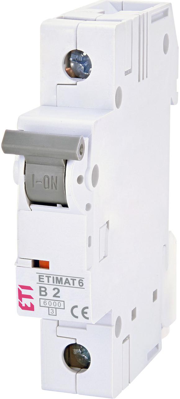Автоматический выключатель ETI ETIMAT 6 1P 2A B 6kA 2111510 | модульный 1-полюсный автомат 1п В 2А