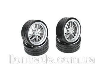 "Team Magic E4D Mounted Radial Tire 2.2"",8 Spoke Fog Silver 4p"