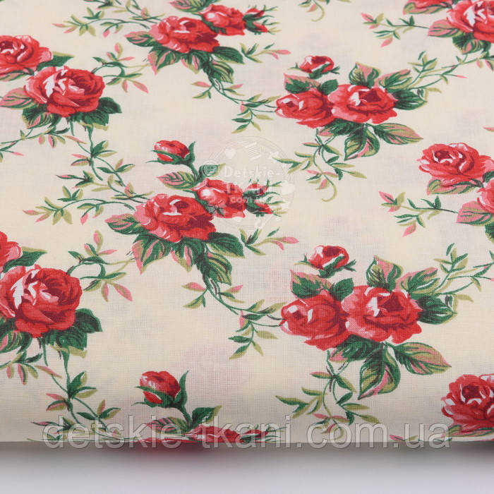 """Хлопковая ткань """"Красные розочки"""" на кремовом (№2450а)"""