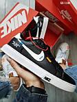 Мужские кроссовки Nike Air Force Off White Blazermid (черно/белые), фото 5