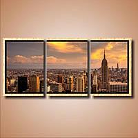 Современная модульная картина на холсте в гостиную Нью-Йорк. Триптих, 37х82 см