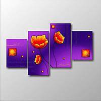 Эффектная корпусная модульная картина на холсте Маки полиптих, 166х100 см