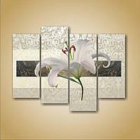 Эффектная корпусная модульная картина на холсте Лилия. Полиптих, 146х110 см