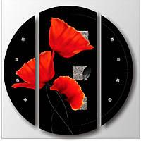 """Эффектная корпусная модульная картина на холсте """"Красные маки"""", 90х90 см"""
