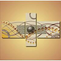 Эффектная корпусная модульная картина на холсте Круги и линии, 140х80 см