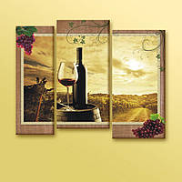 Эффектная корпусная модульная картина на холсте Красное вино, 113х90 см