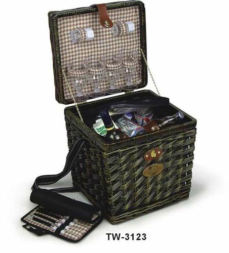 Корзина для пикника с наполнением на 4 персоны, темная лоза, термоизольована. Размер: 35 * 31,25 * 37,5см TW- 3123