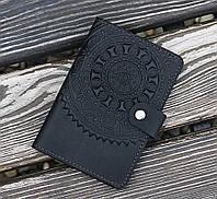 Обложка для документов кожаная ЭТНО черный 9.5*13.5см 03-8Ч на документы кожа, фото 1