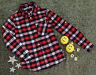 """Рубашка """"Школа"""" на девочку, р. 134-158, в клетку, белый+красный"""