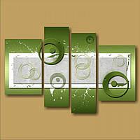 Модульная картина на стену Зеленые круги, 106х70 см