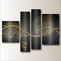 Модульная картина на стену Золотая волна, 121х88 см