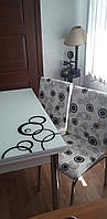 """Раскладной стол обеденный кухонный комплект стол и стулья рисунок 3д """"Круги двойные"""" ДСП стекло 70*110 Лотос-М, фото 1"""