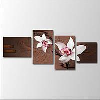 Модульная картина большого размера на стену Две орхидеи на веточке, 167х70 см