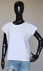 Женская однотонная футболка с цельнокроеными рукавами