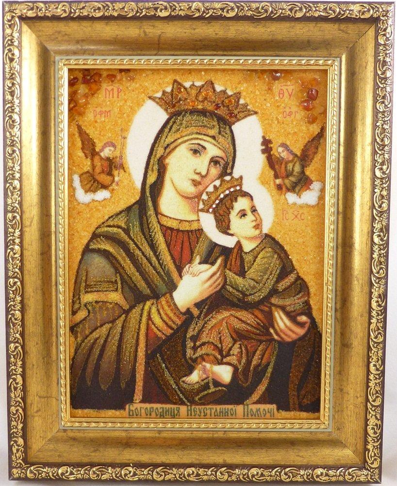 Богородица і-60 Икона Божией Матери 20*30 с янтарем