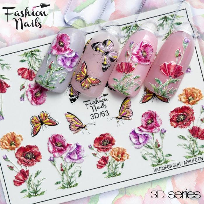 Декор для нігтів наклейки квіти маки , метелики